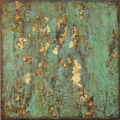 Items similar to SOLD* Textured Gold Leaf Turquoise Painting, Original Rustic Contemporary, Boho Wall Art on Etsy Art Texture, Texture Painting, Gold Texture, Diy Canvas, Canvas Wall Art, Canvas Ideas, Art Feuille D'or, Neal Art, Gold Leaf Art