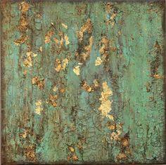 Original Texture Abstract Turquoise Gold 20 x by AmyNealArtStudio