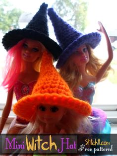 Mini Witch Hat for Your Amigurumi - Free Crochet Pattern here: http://stitch11.com/barbie-witch-hat/