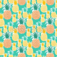 Seamless pattern with cute funny multi-colored pineapple fruit. Vector Pattern, Pattern Design, Pineapple Backgrounds, Cute Pineapple, Repeating Patterns, Free Vector Art, Surface Design, Tropical