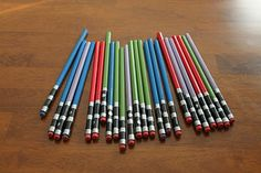 DIY light saber pencils - great idea for my friend who LOVES Star Wars :)
