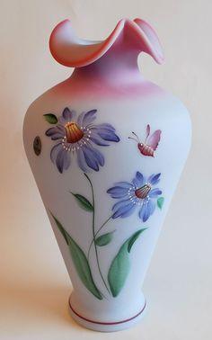 Fenton Purple Passion Flowers Blue Burmese Vase 2001