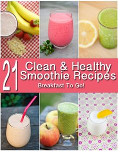 Healthy Smoothies Recipe 22 Healthy Smoothie Recipes from www. - Clean Eating Recipes For Everyday Living. Clean eating recipes, clean eating meal plans, and clean eating information. Breakfast Smoothie Recipes, Yummy Smoothies, Juice Smoothie, Smoothie Drinks, Yummy Drinks, Healthy Drinks, Healthy Eating, Clean Eating Breakfast Smoothies, Healthy Food