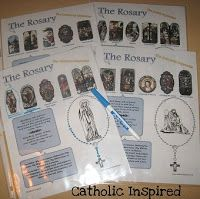 Rosary Prayer Sheets- Print them out and laminate them (or use plastic sheet covers). Then the kids can use them to follow along as they pray. They can use a dry erase marker to fill in the rosary beads on the sheet as they pray each prayer.