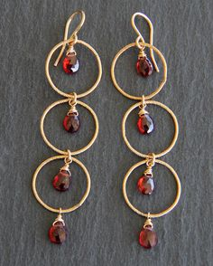 Textured Rounds Cascade Hoop & Gemstone Earrings