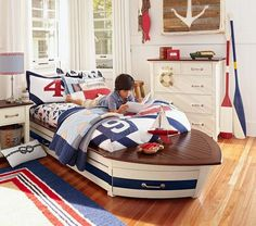 Shop boat bed from Pottery Barn Kids. Find expertly crafted kids and baby furniture, decor and accessories, including a variety of boat bed. Bedroom Themes, Kids Bedroom, Bedroom Decor, Bedroom Ideas, Bedroom Signs, Kids Rooms, Beach Bedrooms, Rustic Bedrooms, Wall Decor