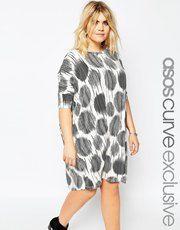 ASOS CURVE T-Shirt Dress in Sketchy Polka Dot