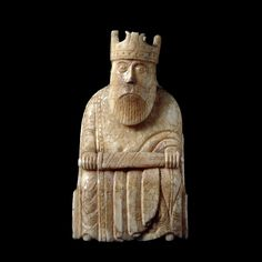 King from the Lewis Chessmen, British Museum. Probably made in Scandinavia, thought to be Norway, about AD 1150-1200 | Found on the Isle of Lewis, Outer Hebrides, Scotland