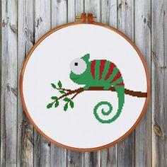 Chameleon cross stitch pattern modern cross stitch by ThuHaDesign