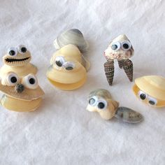 Great decorations or easy party craft!   Maybe use Aileens tacky glue or some quick bonding glue for younger kids....collect and wash the shells or buy them!  Seashells in various types and sizes  Hot glue gun  Wiggle eyes