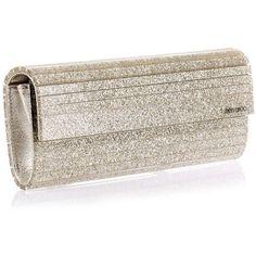 Jimmy Choo Sweetie champagne glitter clutch (6.205 NOK) ❤ liked on Polyvore featuring bags, handbags, clutches, bolsas, purses, glitter purse, jimmy choo, metallic clutches, champagne purse y jimmy choo clutches