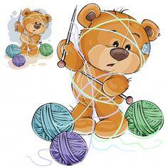Ilustración vectorial de un oso de peluche marrón que sostiene una aguja de tejer en su pata y enredado en hilos Vector Gratis