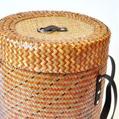 Korb Wäsche Aufbewahrungskorb Bast beige braun orange 40cm
