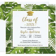 Green graduation paint splatter chic grad party card tropical graduation photo invitation card filmwisefo Choice Image
