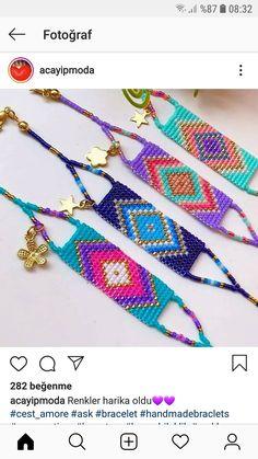 Bead Loom Bracelets, Loom Beading, Friendship Bracelets, Cross Stitch, Handmade Jewelry, Beads, How To Make, Beautiful, Loom