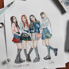 #BLACKPINK #WHISTLE #BOOMBAYAH #blackpinkfanarts #watercolour #kpop #kpopfanart #illustrator #illustration #draw Kpop Drawings, Art Drawings, South Korean Girls, Korean Girl Groups, Black Pink Kpop, Jennie Blackpink, Blackpink Lisa, Kpop Fanart, Yg Entertainment