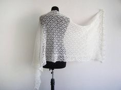 Stole mohair white knitted marriage shawl white Bridal stole