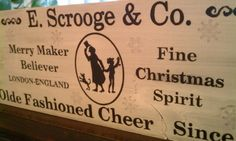 """Vintage HOLIDAY Sign RUSTIC Christmas Sign SCROOGE """"A Christmas Carol"""" with Snowflakes. $85.00, via Etsy."""