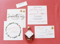 Juliet + David - Southern Weddings Magazine Stationery Design, Wedding Stationery, Wedding Calligraphy, Calligraphy Watercolor, Types Of Lettering, Hand Lettering, Floral Invitation, Invitation Suite, Wedding Wishes