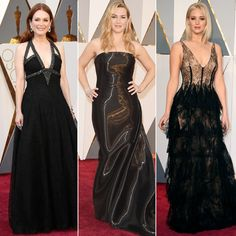 The 3 Most Non-Boring Black Gowns from the 2016 Oscars Oscar Dresses, Prom Dresses, Formal Dresses, Black Gowns, Oscar Fashion, Celebrity Look, Red Carpet Looks, Best Actress, Red Carpet Fashion