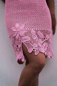 Fabulous Crochet a Little Black Crochet Dress Ideas. Georgeous Crochet a Little Black Crochet Dress Ideas. Beau Crochet, Mode Crochet, Irish Crochet, Crochet Lace, Crochet Flowers, Black Crochet Dress, Crochet Skirts, Crochet Clothes, Crochet Cardigan