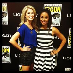 Stephanie Leigh Schlund (Cashmere) and Meta Golding (Enobaria) at Comic-Con today! #SDCC #CatchingFire