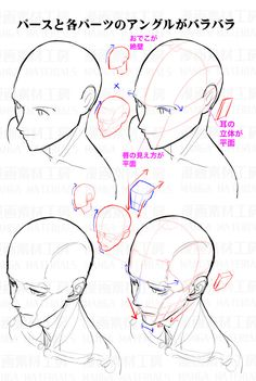 """""""How to draw the face in high angle view : Awkward part of face and the correcting method②"""" Drawing Heads, Drawing Base, Figure Drawing, Drawing Lessons, Drawing Skills, Drawing Tips, Manga Drawing Tutorials, Art Tutorials, Painting Tutorials"""