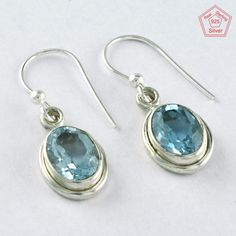 SIIPL - Blue Topaz Stone 925 Sterling Silver Ray Of Light Earring 3961 #SilvexImagesIndiaPvtLtd #DropDangle