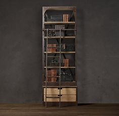 Dutch Shipyard Tower Bookcase with Rolling Ladder from Restoration Hardware