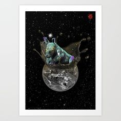 Buy I LIVE HERE / I LOVE HERE / ANIMAL CONSERVATION / ANIMAL / RHINO / SPACE / HARMONY / COSMOS Art Print by jchorona. Worldwide shipping available at Society6.com. Just one of millions of high quality products available.