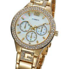 Relógio Feminino Dourado com aplicações de Strass. R$209,90