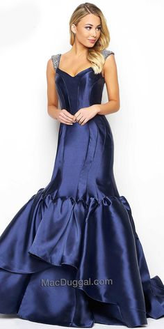 Sweetheart Tiered Trumpet Evening Dress by Mac Duggal #edressme