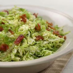 Low Carb Menu Inspiration - side dish - snack - Shredded Brussels Sprouts With Bacon And Onions