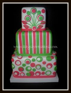 Hot Pink and Lime Green cake