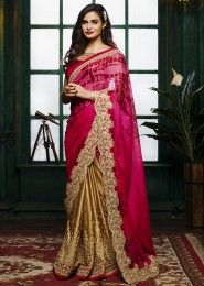 Wedding Wear Beige Satin Embroidered Work Saree