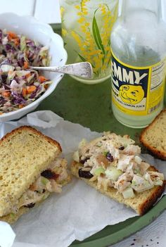 Chicken Salad with Dried Cranberries and Almonds, coleslaw. Mitzi's Modification: use light mayo.