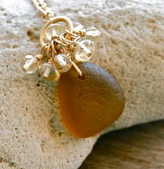 Sea Glass Jewelry Amber Cluster Toggle Necklace Citrine 14K Gold Fill. $36.00, via Etsy.