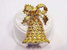 Vintage 1970 TANCER II Christmas Dangling Bell Pin Aurora Borealis Rhinestones  #TANCERII