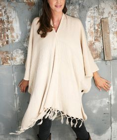 Look what I found on #zulily! Beige Tassel Button-Up Poncho #zulilyfinds