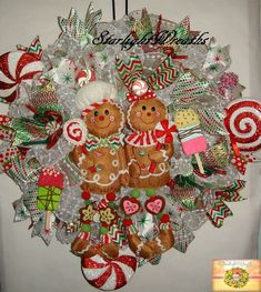 Candy Gingerbread Boy and Girl Mesh Wreath by StarlightWreaths