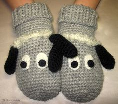 Funny Chunky Crochet Gloves Mittens Animal Puppet by 2HandMade, $23.00