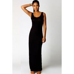 Black Scoop Neck Sleeveless Casual Maxi Dress ($16) ❤ liked on Polyvore featuring dresses, black, scoop neck maxi dress, black dress, sleeveless maxi dress, bodycon dress and body conscious dress