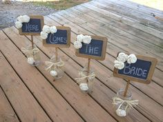 Rustic Wedding Chalkboard Signs - Rustic Wedding Signage - Alternative Bridesmaid Bouquet - Chalkboard Photo Prop - Wedding Table Numbers on Etsy, $68.00