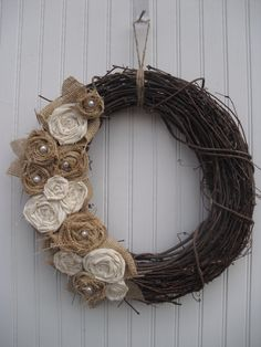 Burlap Wreath with Muslin & Pearls by ATPitman on Etsy...Beautiful yarnless wreath ;) Love the texture of the muslin & burlap