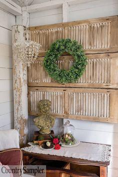 Country Sampler Magazine, Wooden Shutters, Farmhouse Design, Country Decor, Ladder Decor, Repurposed, Room Ideas, Shabby, Relax