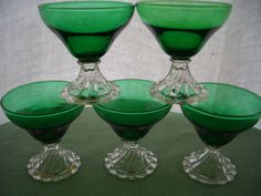 Vintage Depression Glass Dark Green Boopie by AnniesVintageRedone, $35.00.  My mother has some of these.