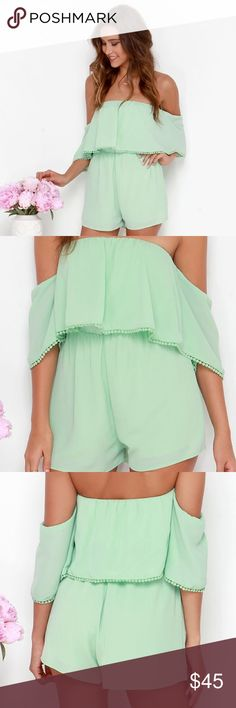 LULUS Off The Shoulder Romper - NWOT Get ready to look and feel mighty fine in the Breezy on the Eyes Mint Green Off-the-Shoulder Romper! An elasticized off-the-shoulder bodice with fluttering sleeves drops to a cute woven flounce with matching crochet pompom fringe. The comfy, elasticized waistband gives way to the attached shorty-shorts below. Fully lined. Self: 100% Polyester. Lining: 100% Rayon. Hand Wash Cold. Lulu's Pants Jumpsuits & Rompers