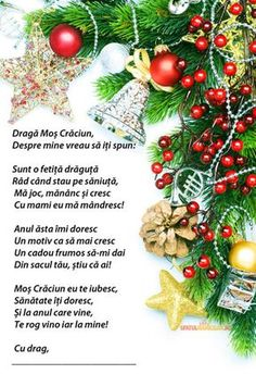 Model scrisoare lui Mos Craciun Christmas Poems, Kids Christmas, Christmas Wreaths, Christmas Cards, Merry Christmas, Romanian Language, Anul Nou, My Love Poems, Holiday Hours
