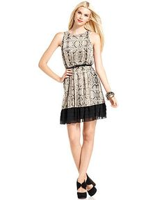 Jessica Simpson Dress, Sleeveless Belted Pleated Snake-Print