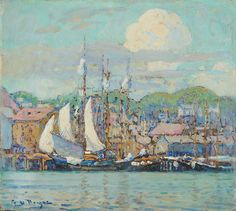 """""""Gloucester Harbor,"""" George Loftus Noyes, oil on canvas, 13 5/8 x 15 1/4"""", private collection."""